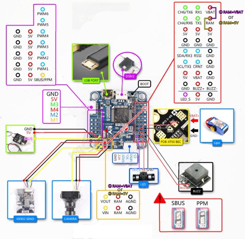 pin layout Omnibus F4 Pro V3S Flight Controller Board Barometer SD for Betaflight